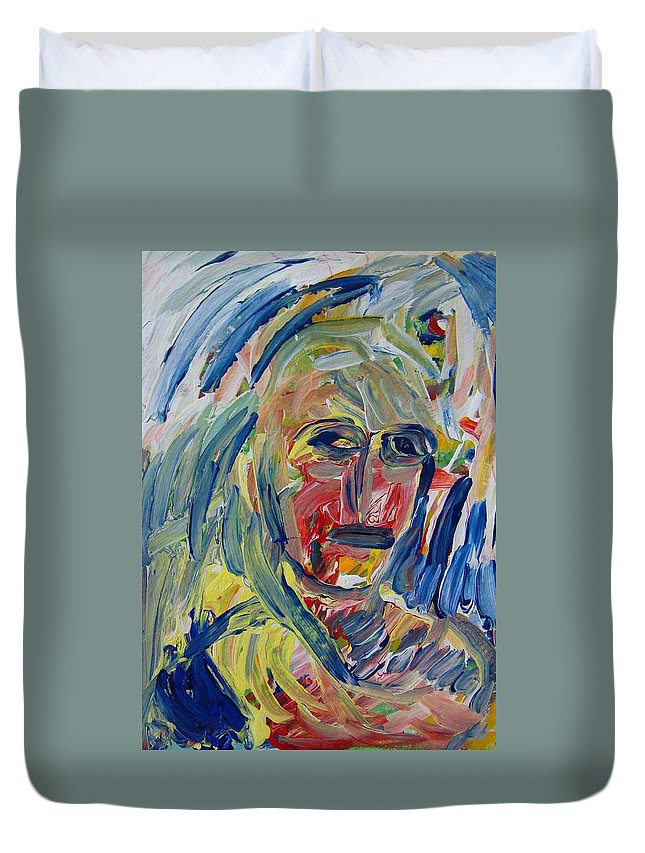 Abstract Duvet Cover featuring the painting Paranoid by Judith Redman