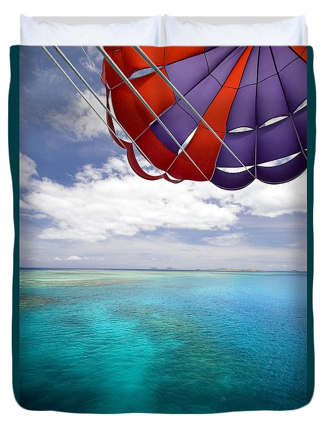 Adrenaline Duvet Cover featuring the photograph Parasail Over Fiji by Dave Fleetham - Printscapes