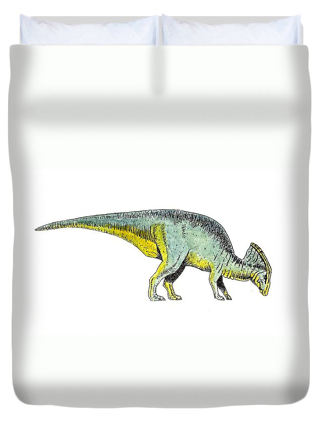 Animals Duvet Cover featuring the painting Parasaurolophus by Michael Vigliotti
