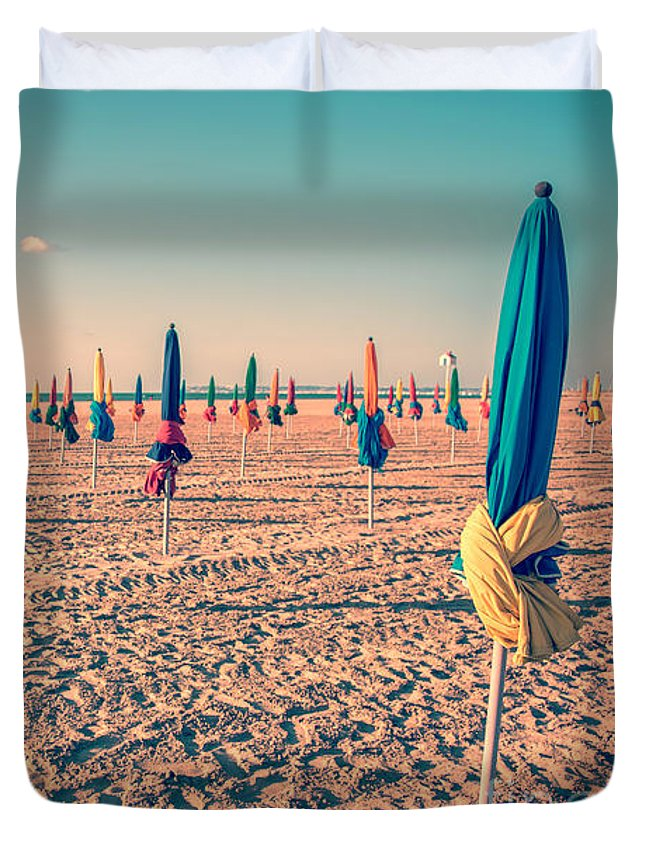 Beach Duvet Cover featuring the photograph Parasols Of Deauville by Delphimages Photo Creations