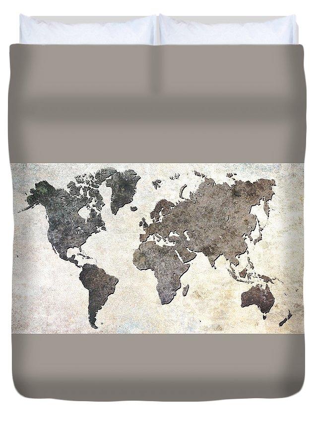 Parchment Duvet Cover featuring the digital art Parchment World Map by Douglas Pittman