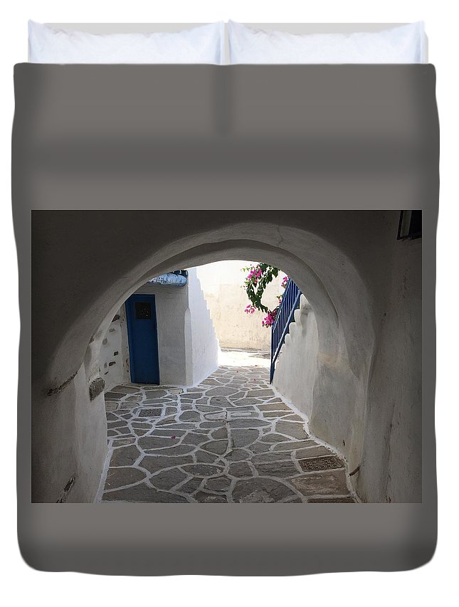 Colette Duvet Cover featuring the photograph Parikia Paros Island Greece by Colette V Hera Guggenheim