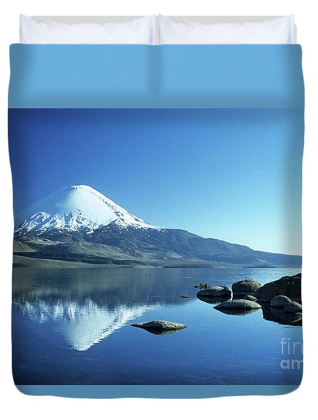 Chile Duvet Cover featuring the photograph Parinacota Volcano Reflections Chile by James Brunker