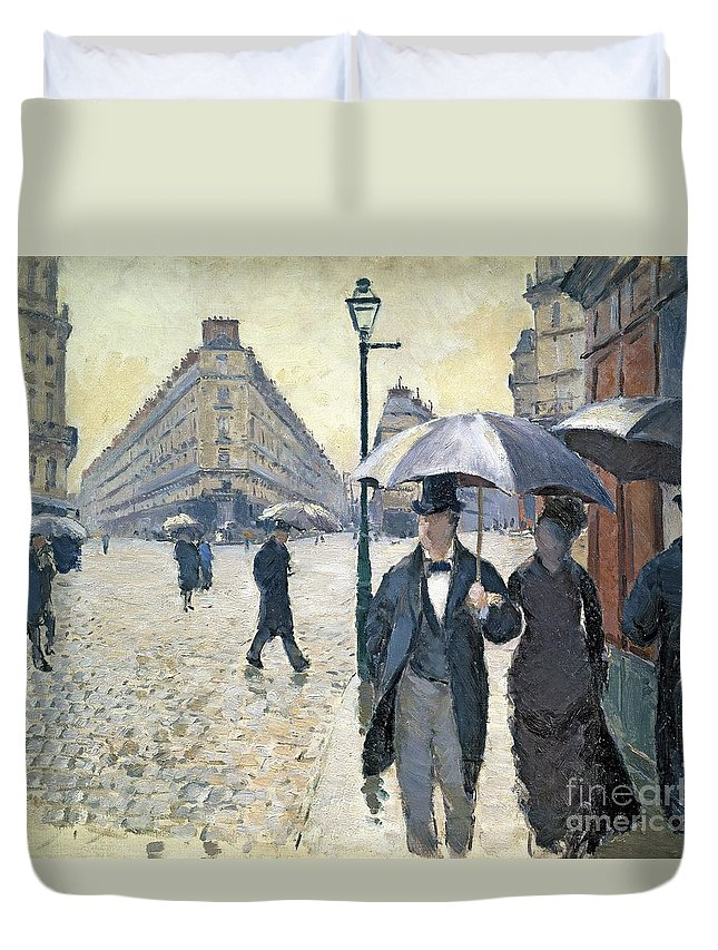 Sketch Duvet Cover featuring the painting Paris a Rainy Day by Gustave Caillebotte