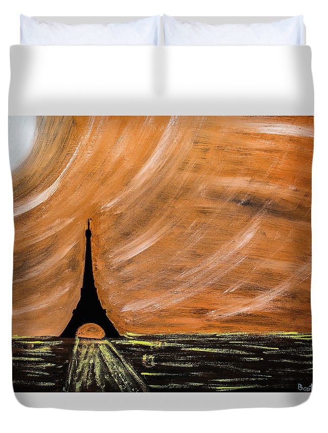 Paris Duvet Cover featuring the painting Paris At Night by Julien Boutin