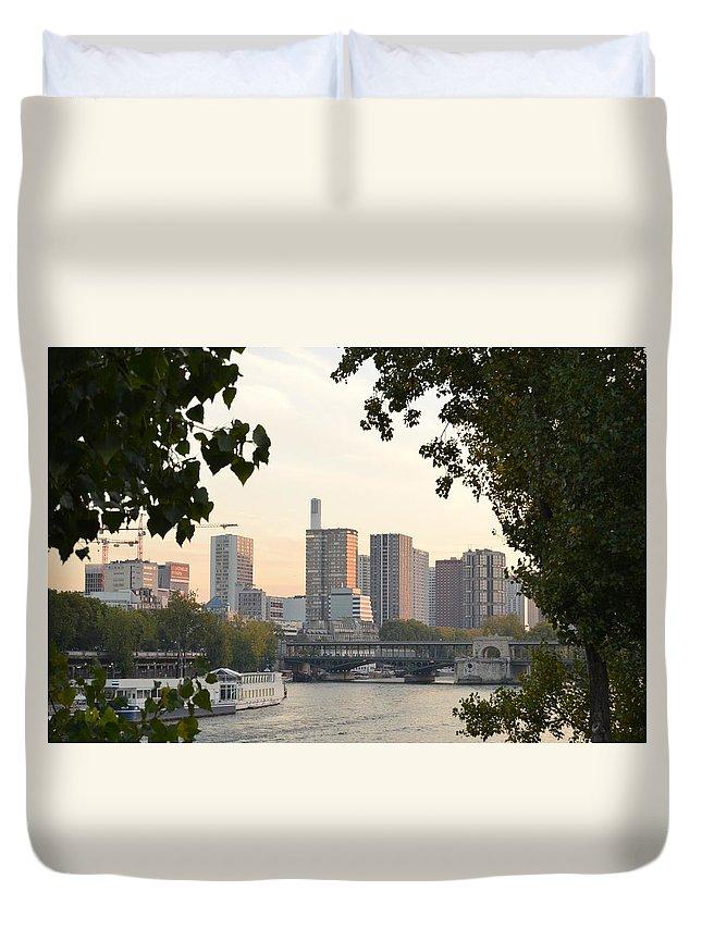 Paris Duvet Cover featuring the photograph Paris Cityscape Across The Water by Dawn Crichton