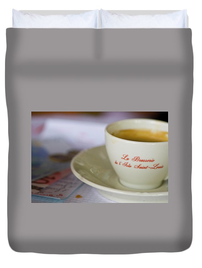 Coffee Duvet Cover featuring the photograph Paris Coffee by Sam Gish
