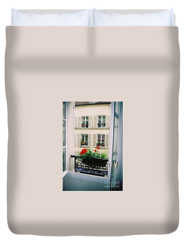 Window Duvet Cover featuring the photograph Paris Day Windowbox by Nadine Rippelmeyer