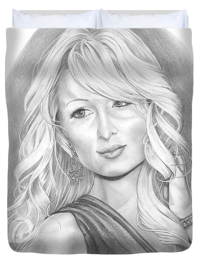Portrait Duvet Cover featuring the drawing Paris Hilton by Murphy Elliott