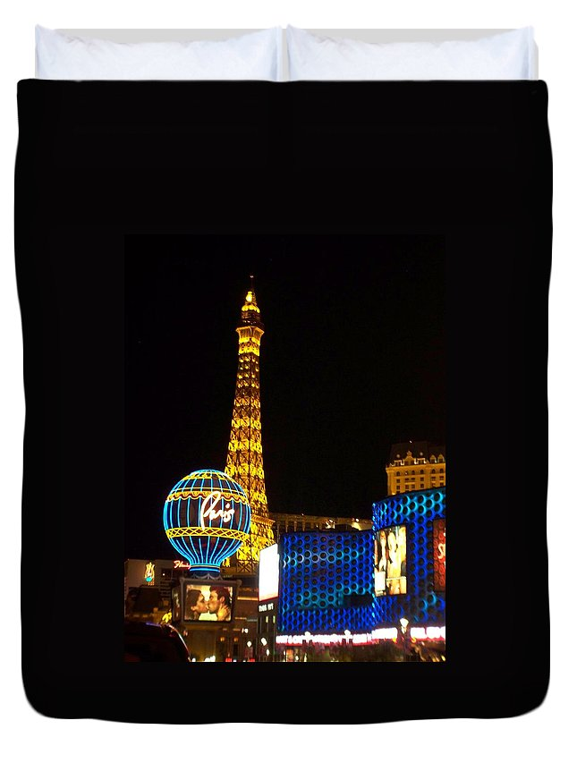 Vegas Duvet Cover featuring the photograph Paris Hotel At Night by Anita Burgermeister