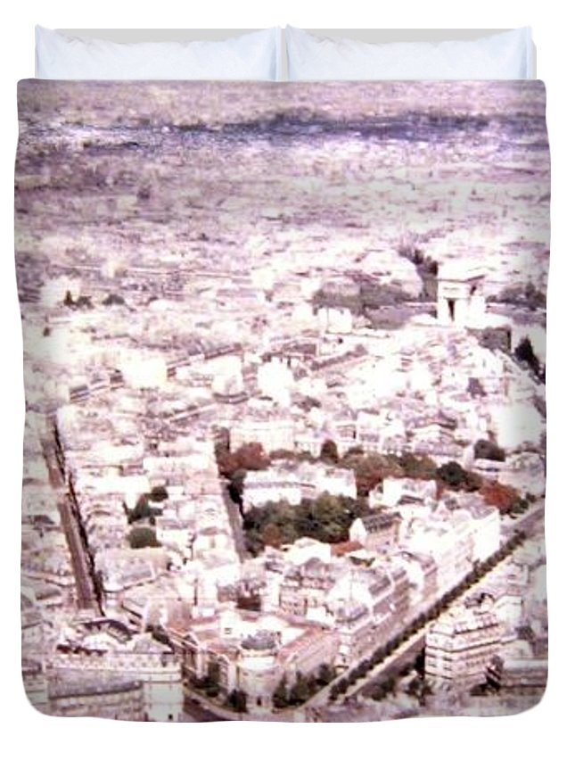 1955 Duvet Cover featuring the photograph Paris Panorama 1955 by Will Borden