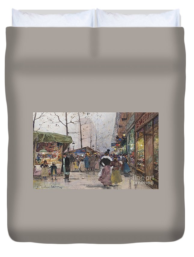 Eug�ne Galien-laloue Paris Porte Saint-denis Duvet Cover featuring the painting Paris Porte Saint Denis by MotionAge Designs