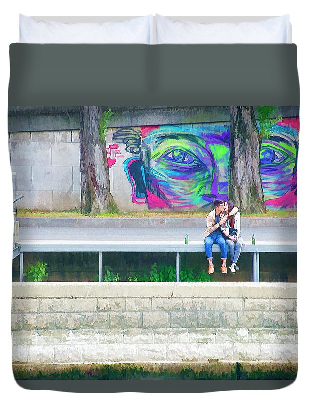 Paris Duvet Cover featuring the photograph Paris, Sunday, Smooching On The Seine, Under The Eyes by Curt Rush