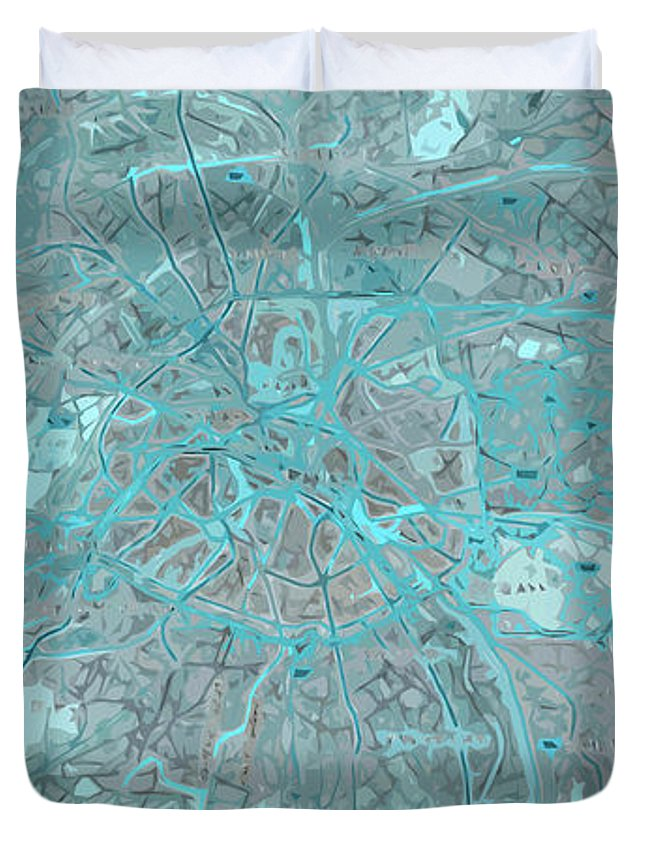 Paris Duvet Cover featuring the digital art Paris Traffic Abstract Blue Map by Drawspots Illustrations