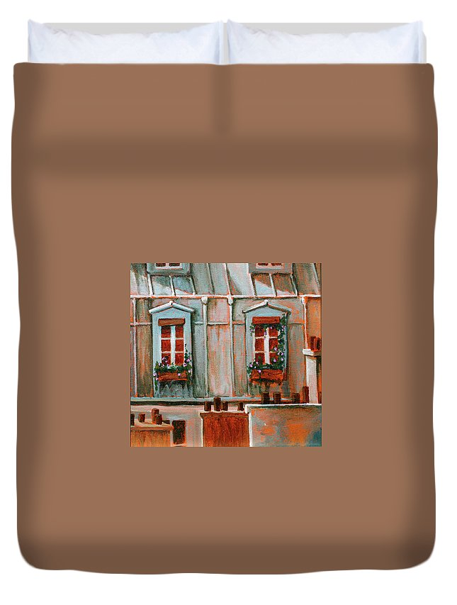 Acrylic On Canvas Duvet Cover featuring the painting Paris Windows by Jennifer McDuffie