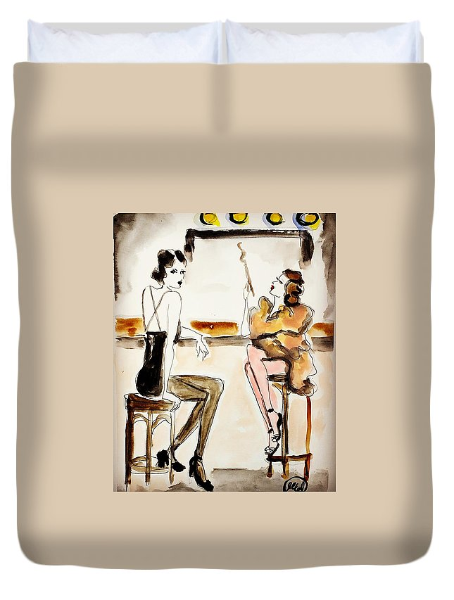 Watercolor Duvet Cover featuring the painting Parisian Cabaret by Melissa Conde