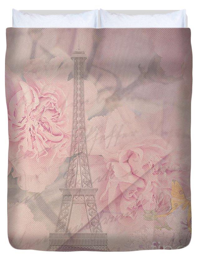 Paris Duvet Cover featuring the digital art Parisian Romantic Collage by Leah McPhail