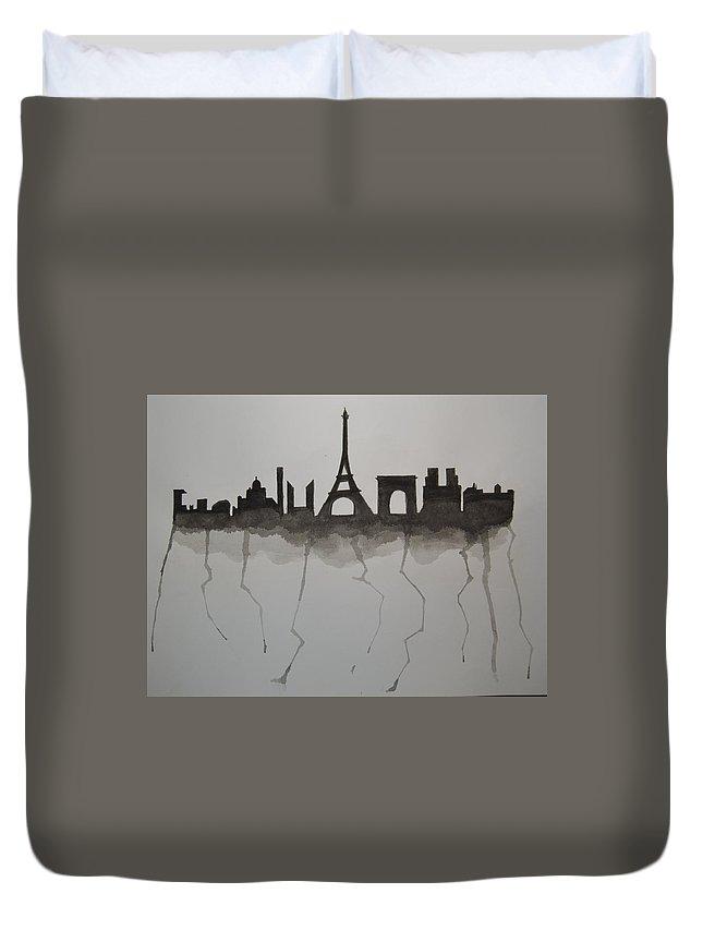 Paris French Skyline Black Silhouette Duvet Cover featuring the painting Parisian Skyline Silhouette by Kushagra Sharma