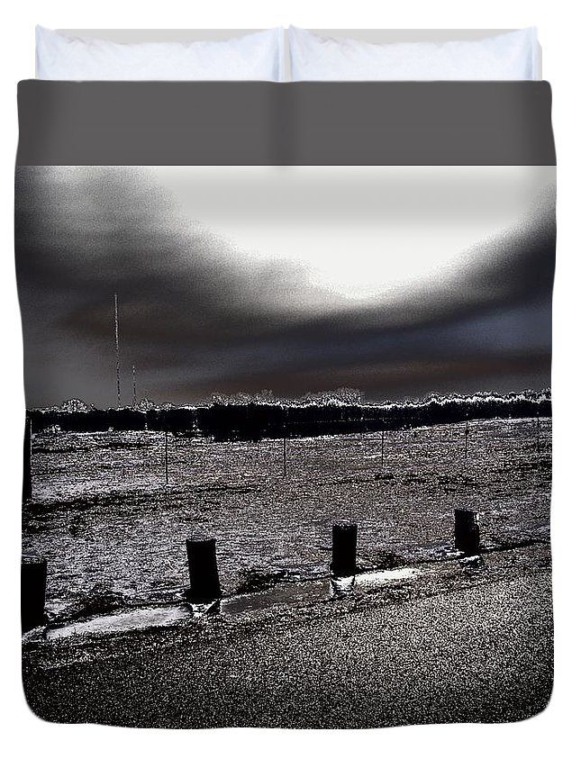 Outdoor Duvet Cover featuring the photograph Park In The Moonlight by Charleen Treasures