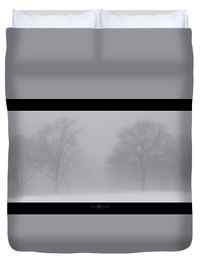 Fog Duvet Cover featuring the photograph Park In Winter Fog by Tim Nyberg