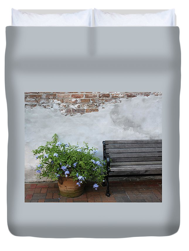 Bench Duvet Cover featuring the photograph Park It by Lauri Novak