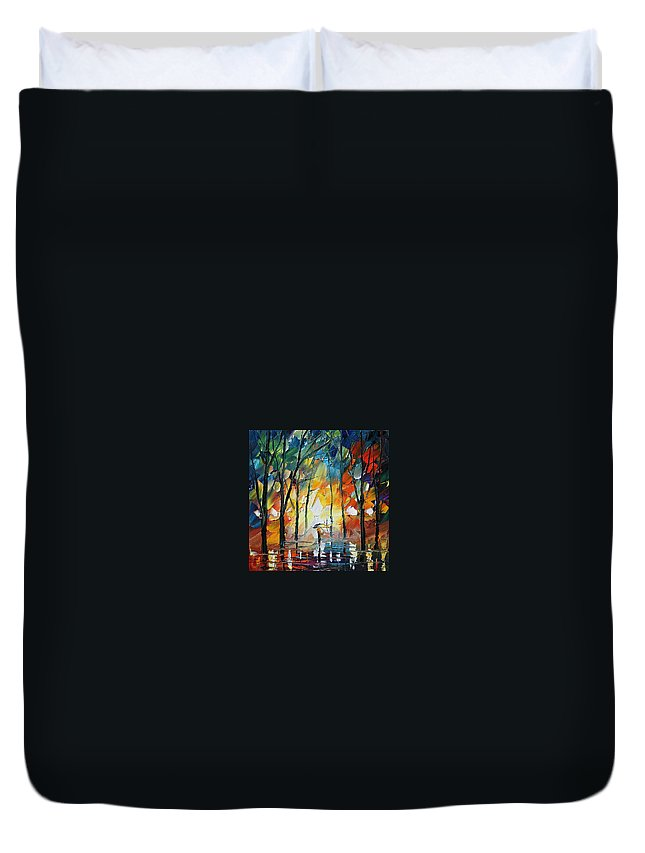 Afremov Duvet Cover featuring the painting Park by Leonid Afremov