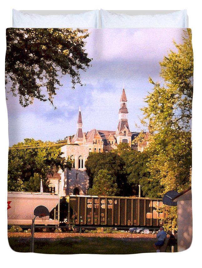 Landscape Duvet Cover featuring the photograph Park University by Steve Karol