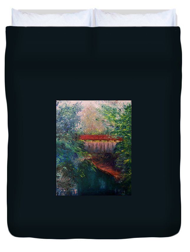 Landscape Duvet Cover featuring the painting Parke County by Stephen King