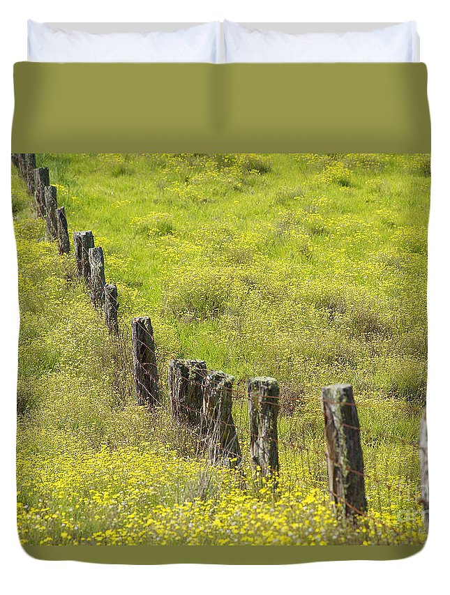 Abstract Duvet Cover featuring the photograph Parker Ranch Fence by Carl Shaneff - Printscapes