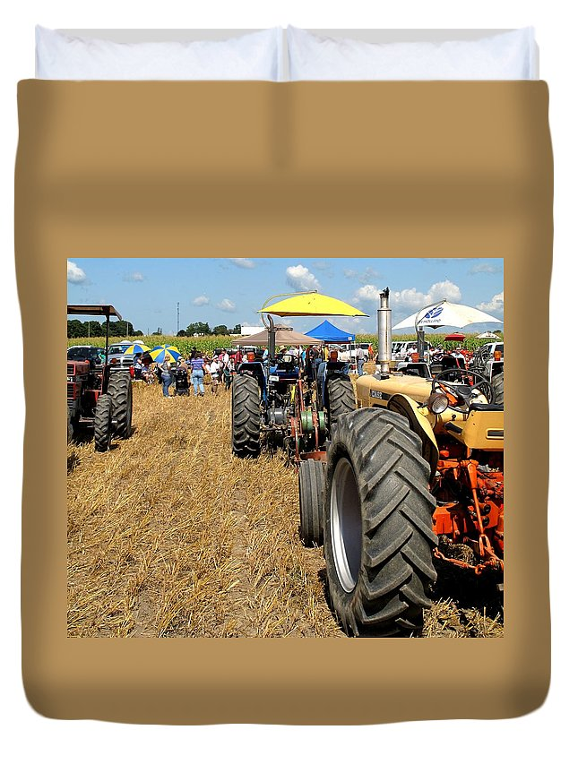 Tractors Duvet Cover featuring the photograph Parking For Lunch by Ian MacDonald