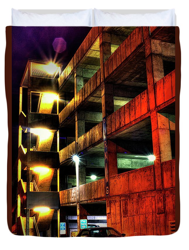Parking Garage Duvet Cover featuring the photograph Parking Garage by Aaron Acker