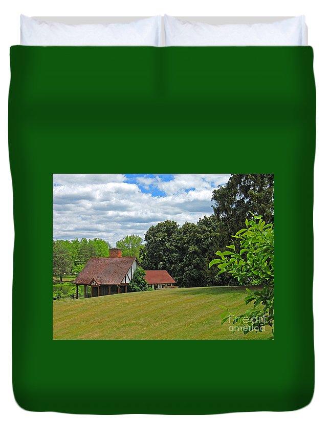 Landscape Duvet Cover featuring the photograph Parkland Cottage by Ann Horn