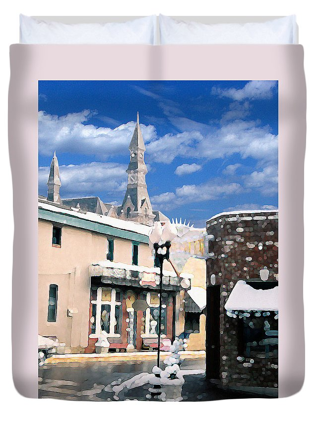 Landscape Duvet Cover featuring the photograph Parkville In Winter by Steve Karol