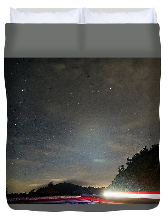 Blue Ridge Parkway Duvet Cover featuring the photograph Parkway Lights by Hunter Ward