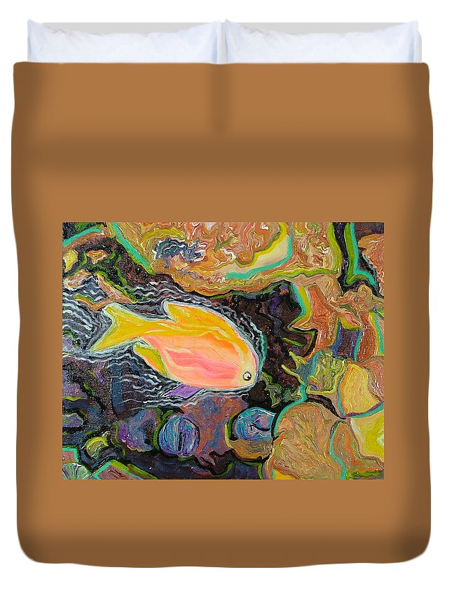Neon Duvet Cover featuring the painting Parrot Fish Are Transgendered by Heather Lennox