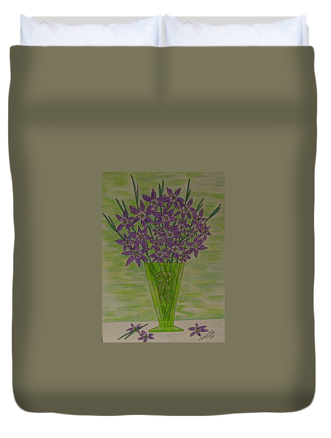 Parrott Duvet Cover featuring the painting Parrot Green Depression Glass by Kathy Marrs Chandler