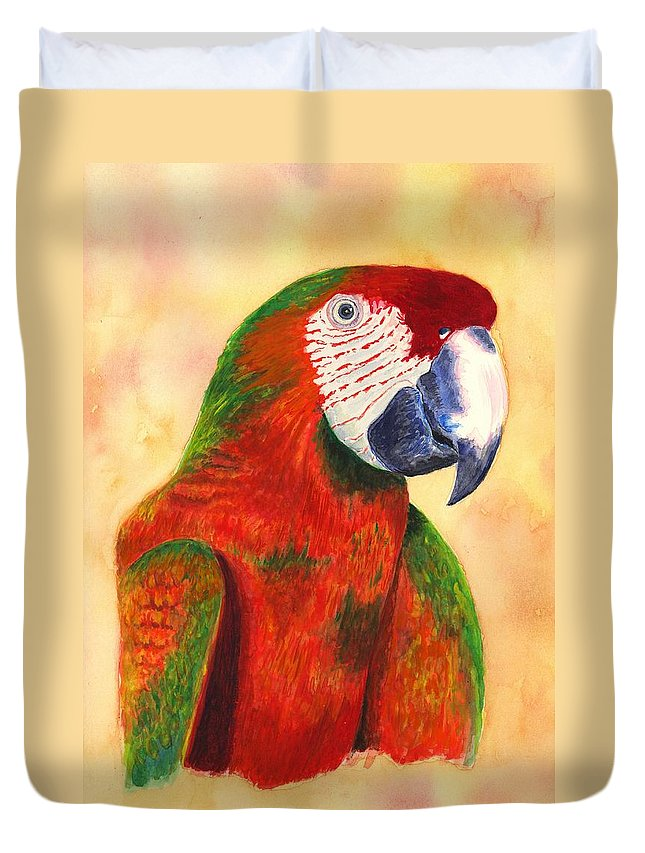 Parrot Duvet Cover featuring the painting Parrot by Michael Vigliotti