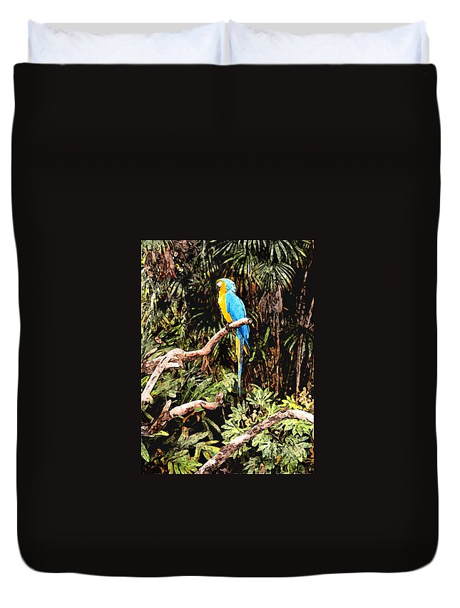 Parrot Duvet Cover featuring the photograph Parrot by Steve Karol