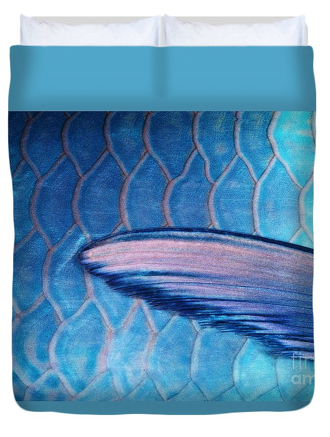 Animal Art Duvet Cover featuring the photograph Parrotfish Scales by Ed Robinson - Printscapes