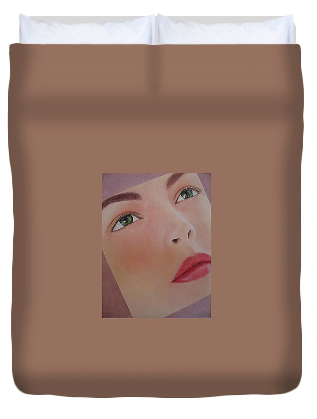 Woman Duvet Cover featuring the painting Part Of You 1 by Lynet McDonald