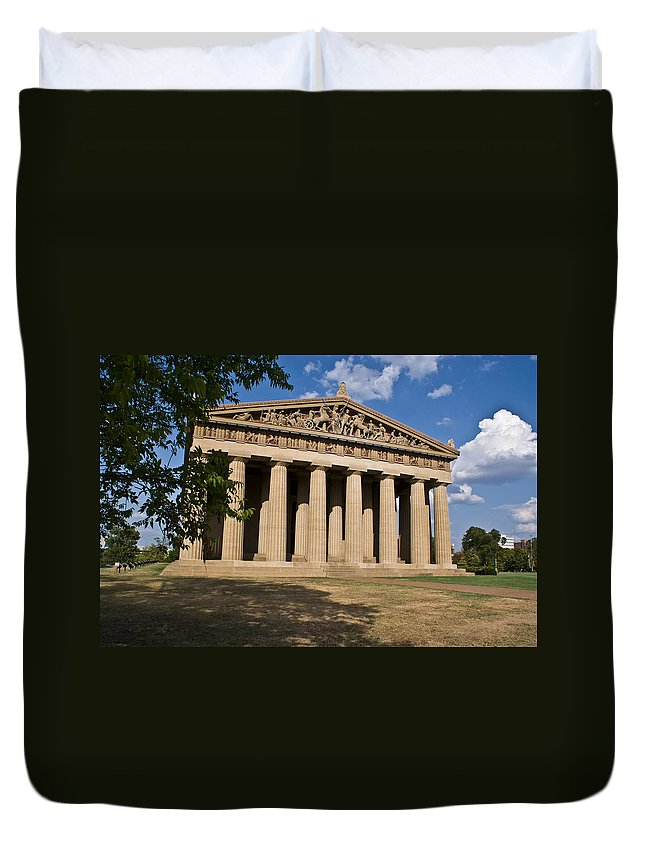 Parthenon Duvet Cover featuring the photograph Parthenon Nashville Tennessee From The Shade by Douglas Barnett