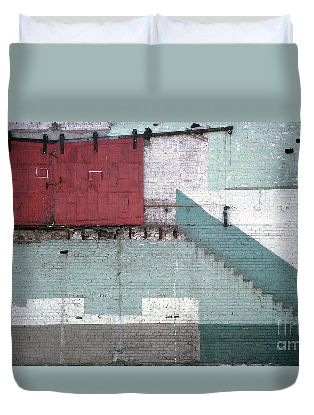 Abstract Duvet Cover featuring the photograph Partial Demolition by Richard Rizzo