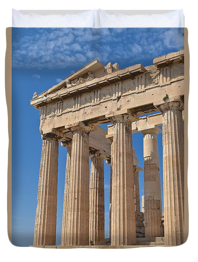 Stone Duvet Cover featuring the photograph Partial Parthenon by Eric Reger