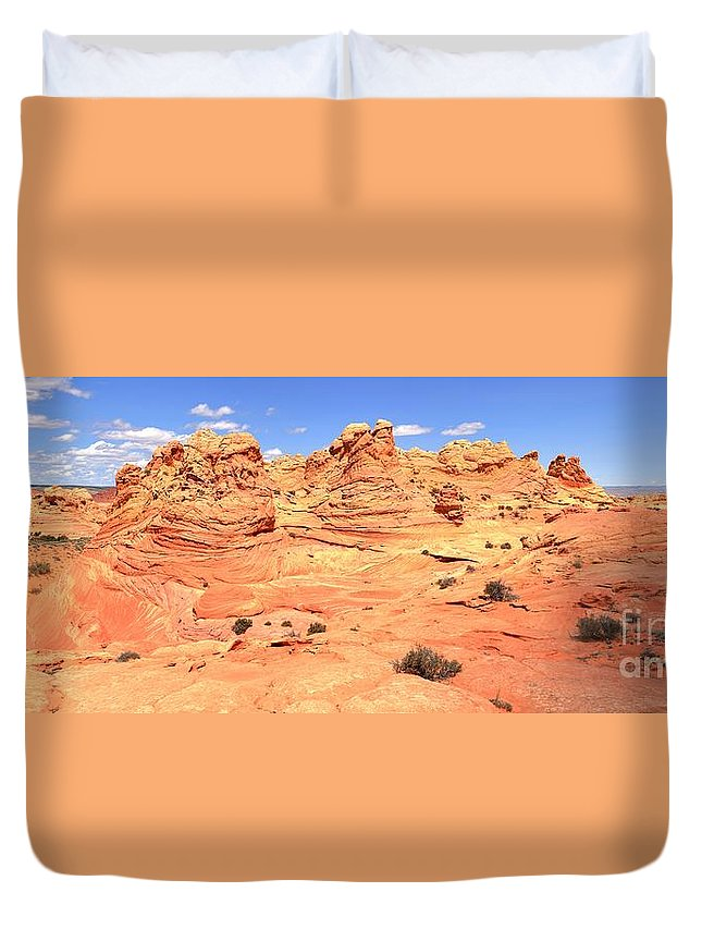 Vermilion Cliffs Panorama Duvet Cover featuring the photograph Partly Cloudy Over Coyote South by Adam Jewell