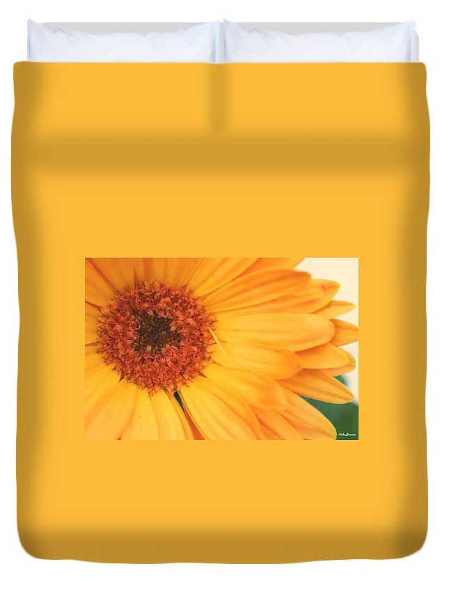 Flowers Duvet Cover featuring the photograph Partly Sunny by Linda Sannuti