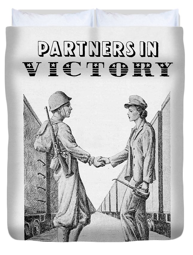 Trains Duvet Cover featuring the drawing Partners In Victory by DeVille