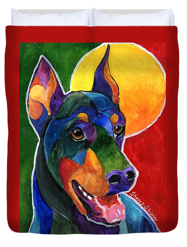 Doberman Pinscher Dog Pet Animal Duvet Cover featuring the painting Party Doby,doberman Pinscher by Sherry Shipley