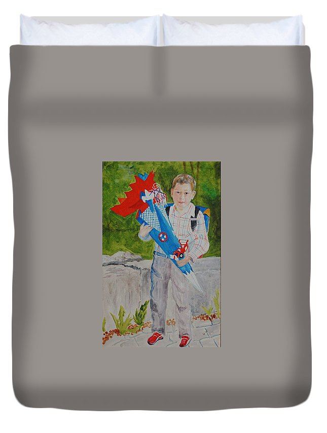School Duvet Cover featuring the painting Pascals First Day At School 2004 by Helmut Rottler
