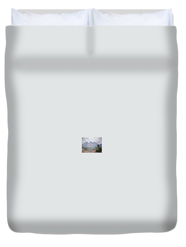 Desertscape Duvet Cover featuring the painting Pass Of The North by Marco Morales