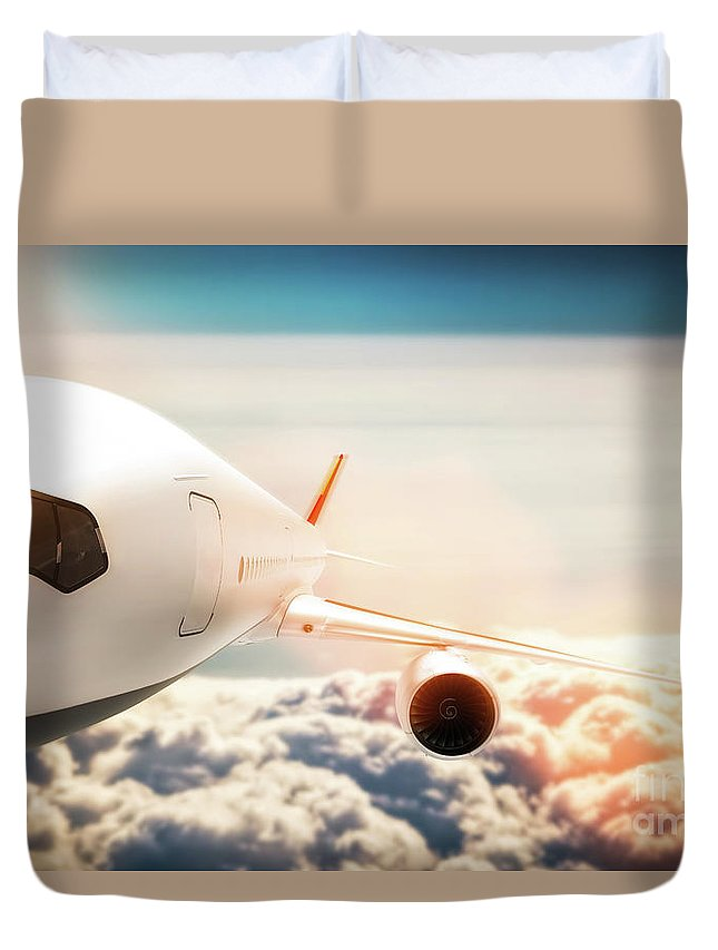Airplane Duvet Cover featuring the photograph Passenger Airplane Flying At Sunshine, Blue Sky. by Michal Bednarek